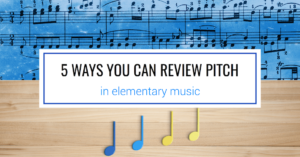 Learn how to use vocal exploration, manipulatives, instruments, clapping games, and other activities to review pitch in your music classroom.