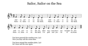Sailor, Sailor on the Sea is a great song for practicing do, re, and mi or to practice steady beat with 6/8 meter. The circle game would work well with your younger students and would be a fantastic opportunity to assess pitch-matching or beat-keeping skills. This would also be a good addition to an ocean-themed informance.